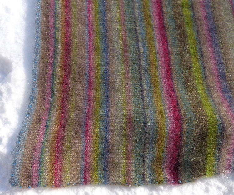 Earth Stripe Wrap knit by Deborah Cooke