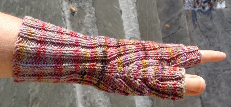 Fingerless gloves knit in Koigu by Deborah Cooke