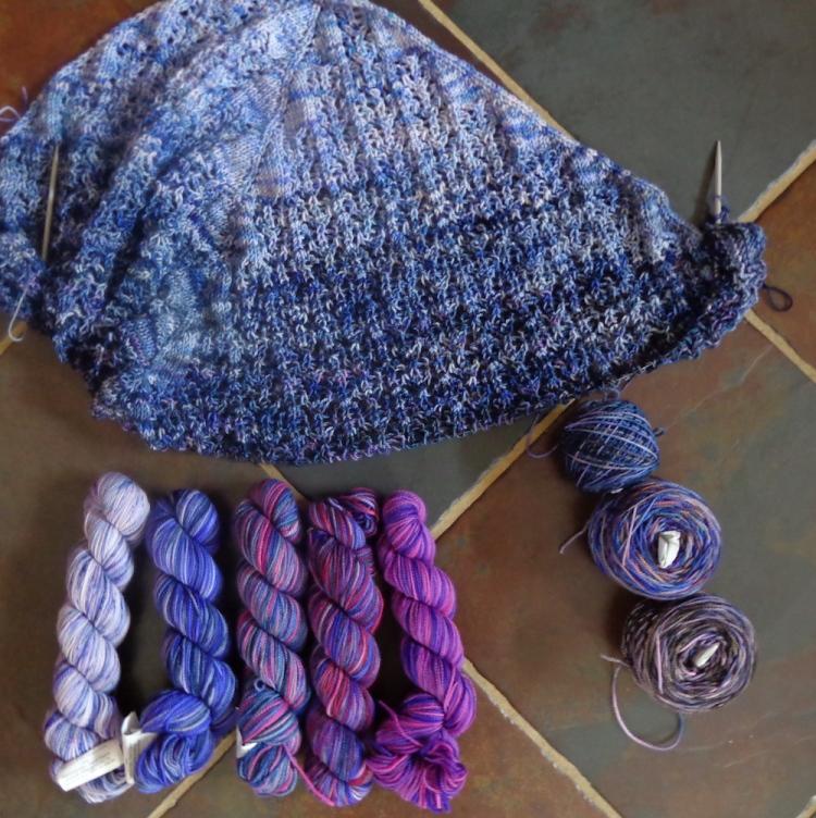 Charlotte's Web shawl, knit by Deborah Cooke in Koigu