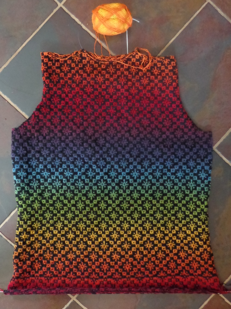 Back of sweater in Kauni Effektgarn knit by Deborah Cooke