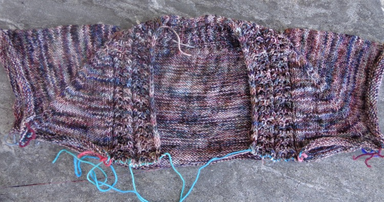 Juicy Gloss cardigan in Koigu in progress, knit by Deborah Cooke