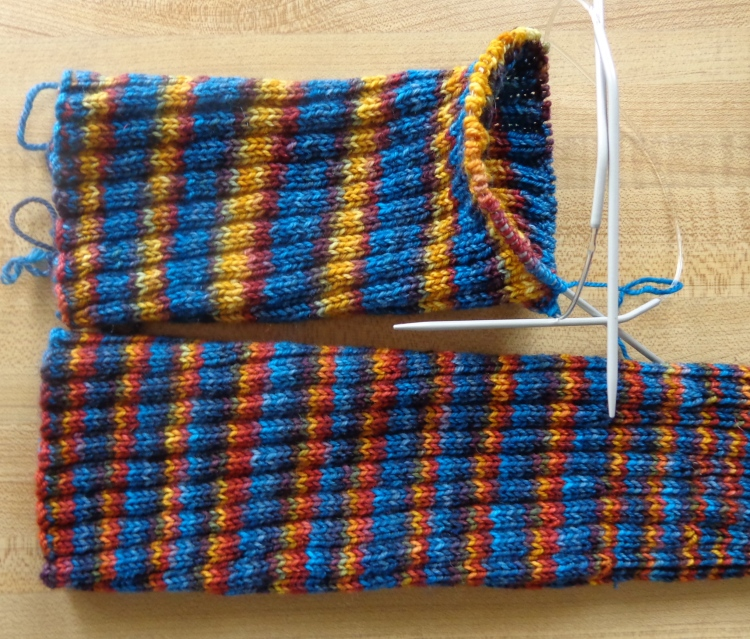 knee socks knit in Fleece Artist Trail Socks by Deborah Cooke