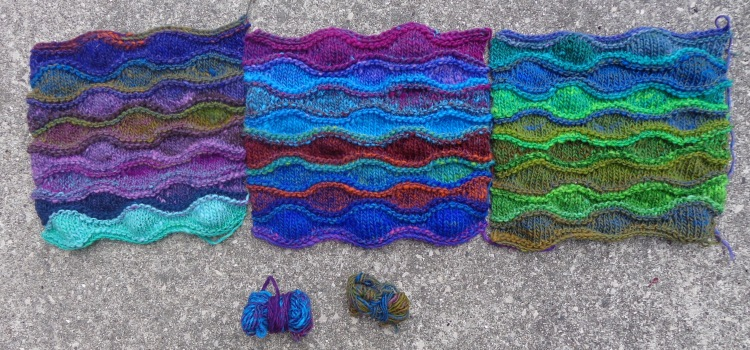 Lizard Ridge afghan squares in Noro Kureyon knit by Deborah Cooke