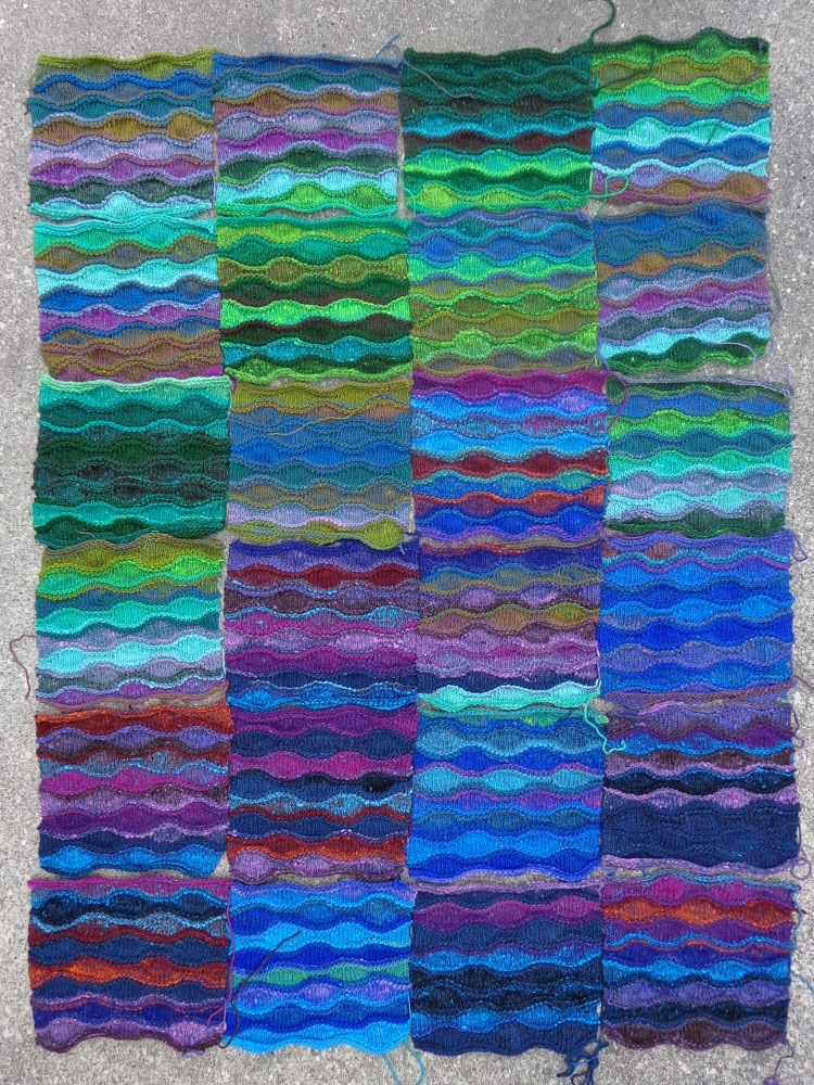 Lizard Ridge afghan in Noro Kureyon, unblocked and unsewn, knit by Deborah Cooke