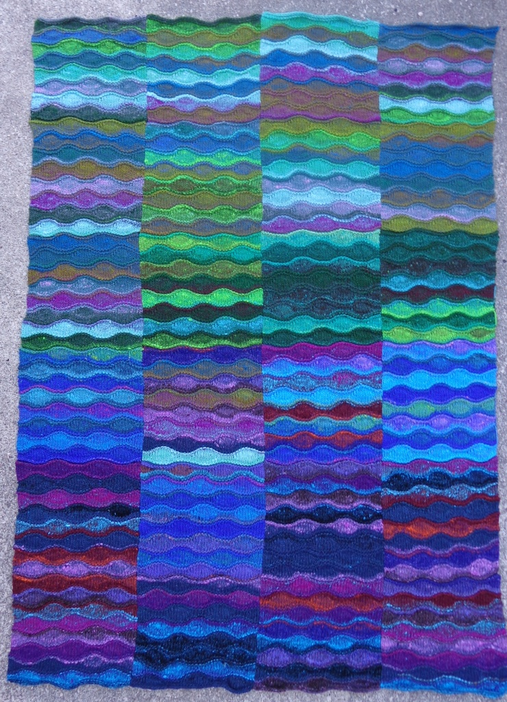 Lizard Ridge Afghan knitted in Noro Kureyon by Deborah Cooke