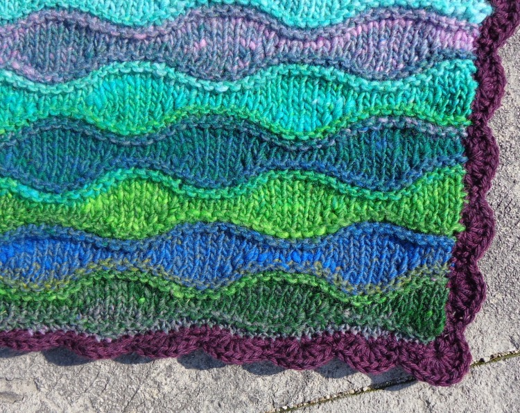Lizard Ridge afghan knit by Deborah Cooke in Noro Kureyon