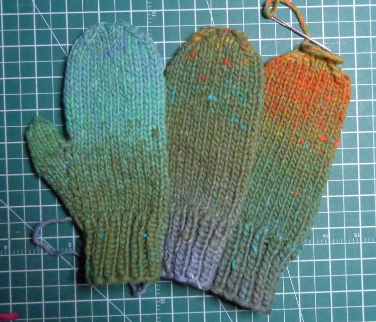mittens knit in Rowan Colourscape Chunky by Deborah Cooke