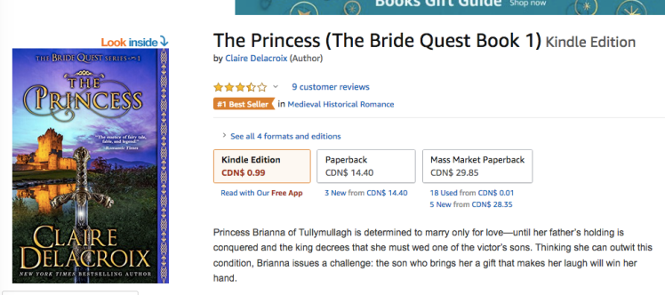 The Princess, #1 in medieval romance in the Amazon.ca store on December 4, 2018