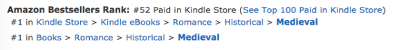 The Princess, a number one bestseller at Amazon.ca in medieval romance on December 4, 2018