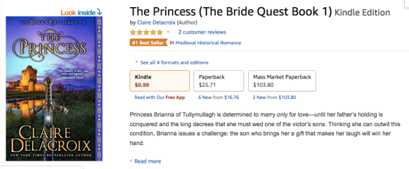 The Princess, a number one bestseller in historical romance in the Amazon.AU store on dEcember 4, 2018
