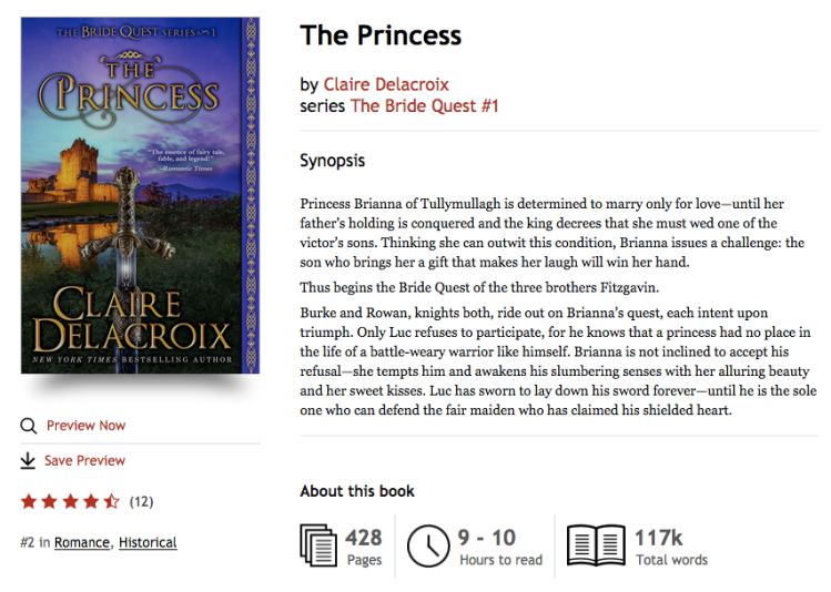 The Princess, #1 in historical romance at Kobo on December 4, 2018