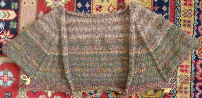 Comfort Fade Cardi knit in Rowan Colourspun by Deborah Cooke