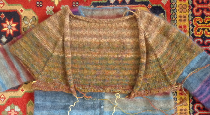 Comfort Fade Cardigan in Rowan Colourspun knit by Deborah Cooke