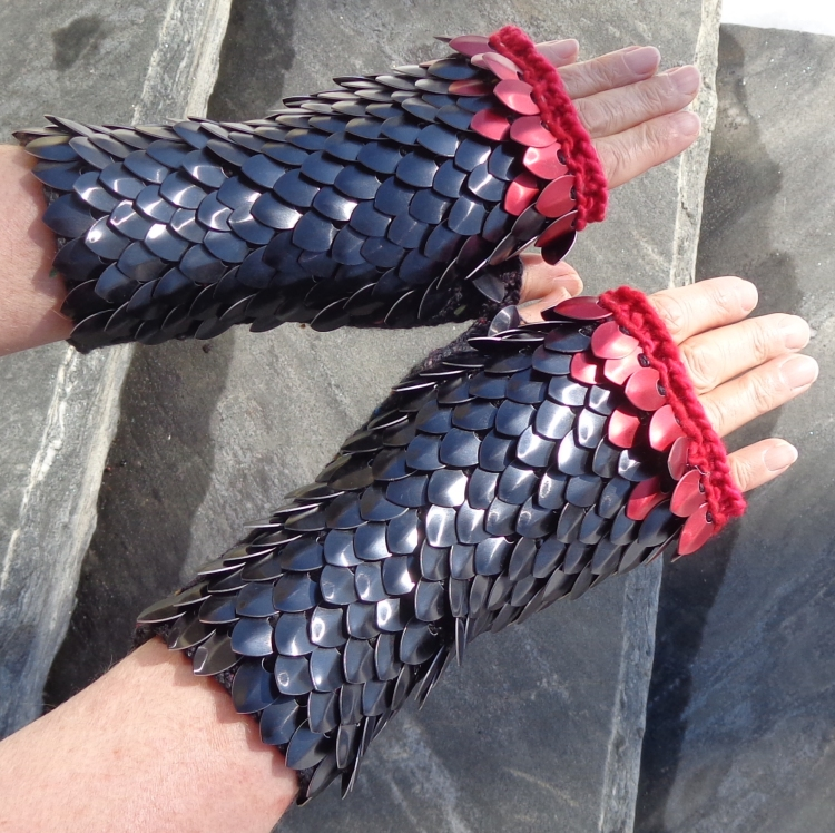 Dragon Scale Mitts knit by Deborah Cooke