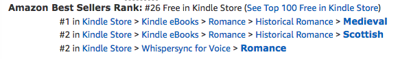 The Beauty Bride, book one of the Jewels of Kinfairlie series of medieval romances by Claire Delacroix, five hours after its BookBub featured deal at #26 overall free in the Amazon store