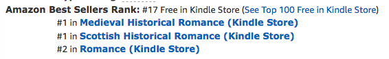 The Beauty Bride, book one in the Jewels of Kinfairlie series of medieval Scottish romances by Claire Delacroix, at #17 overall free as well as #1 in Scottish historical romance and #1 in medieval romance at Amazon on Feburary 20, 2019