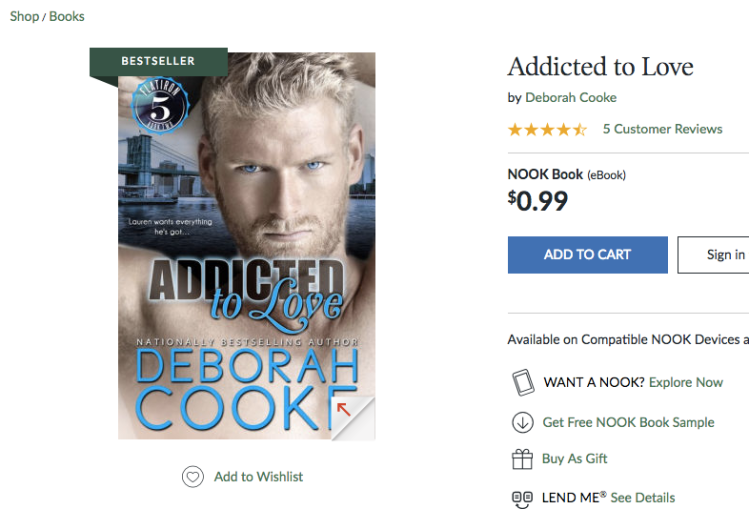 Addicted to Love with a Bestseller ribbon at Nook on March 20, 2019
