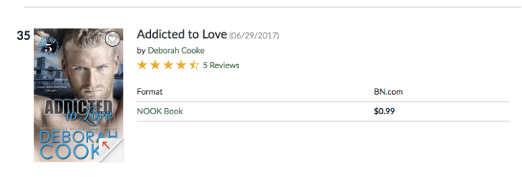 Addicted to Love at #35 overall in the Nook store on March 20, 2019