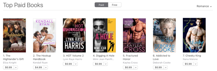 Addicted to Love at #6 in Romance in the Apple bookstore on March 20, 2019