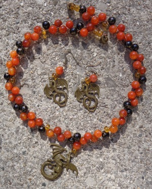 Dragon necklace with fire agate semi-precious gemstone beads and glass beads, made by Deborah Cooke