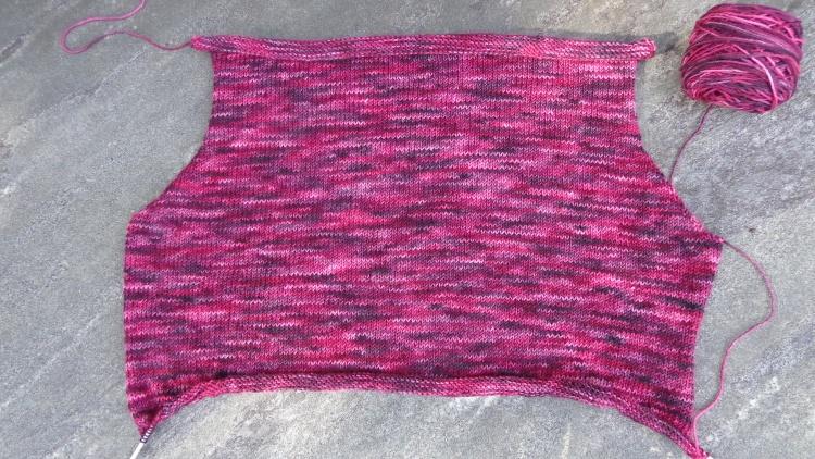 Back of Lunenberg Cardigan knit in Koigu KPPPM by Deborah Cooke