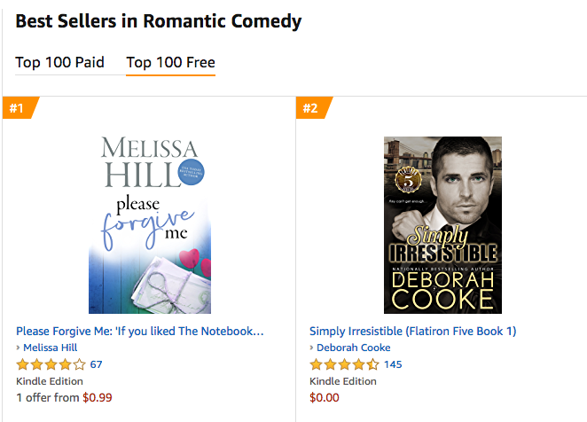 Simply Irresistible, book one of the Flatiron Five series of contemporary romances by Deborah Cooke, at #2 in Romantic Comedy at Amazon.com on August 12, 2019