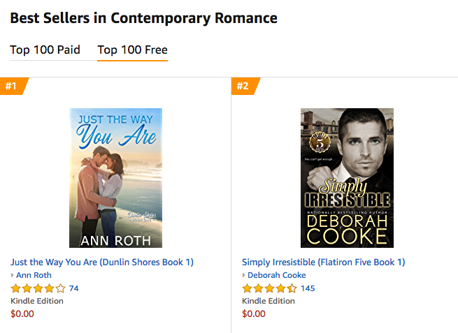 Simply Irresistible, book one of the Flatiron Five series of contemporary romances by Deborah Cooke, at #2 in Contemporary Romance at Amazon.com on August 13, 2019