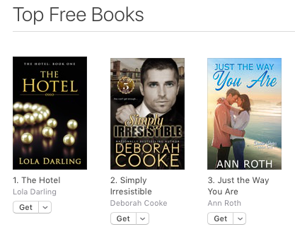 Simply Irresistible, book one of the Flatiron Five series of contemporary romances by Deborah Cooke, at #2 free overall at Apple on August 13, 2019
