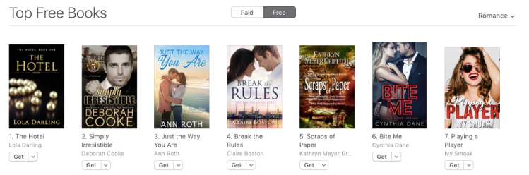 Simply Irresistible, book one of the Flatiron Five series of contemporary romances by Deborah Cooke, at #2 free in Romance at Apple on August 13, 2019