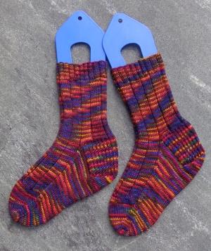 Cuff-down socks knit in Fleece Artist Cottage Socks by Deborah Cooke