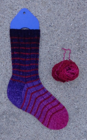 Sock knit in Biscotte Yarns Mini-Metamorph by Deborah Cooke