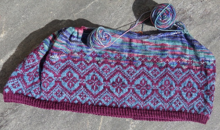 Navelli knit in Koigu by Deborah Cooke, in progress