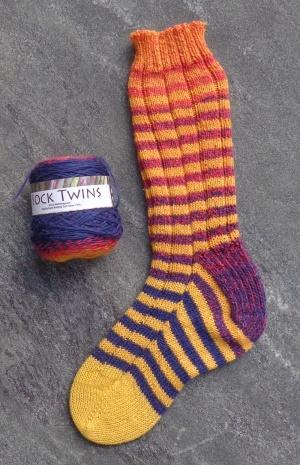 Toe-up socks knit in Estelle Sock Twins by Deborah Cooke