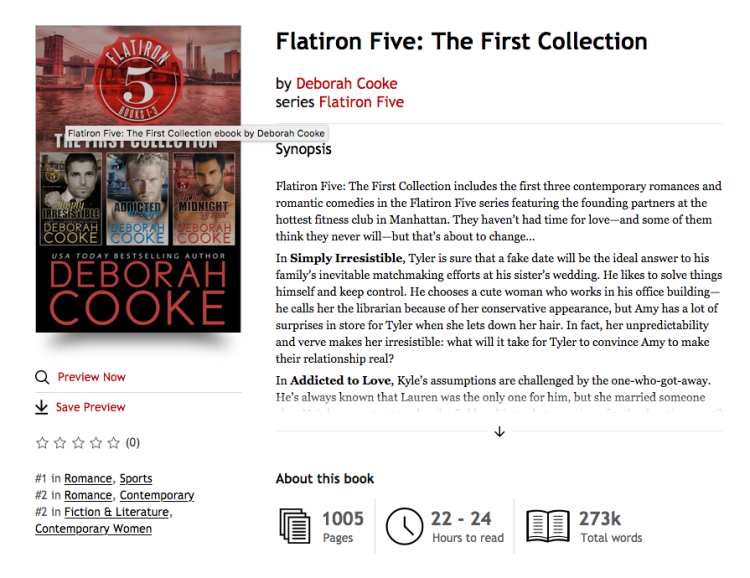 Flatiron Five, the First Collection, a digital bundle of three contemporary romances by Deborah Cooke at #1 in Sports Romance and #2 in Contemporary Romance in the Kobo store on January 22, 2020