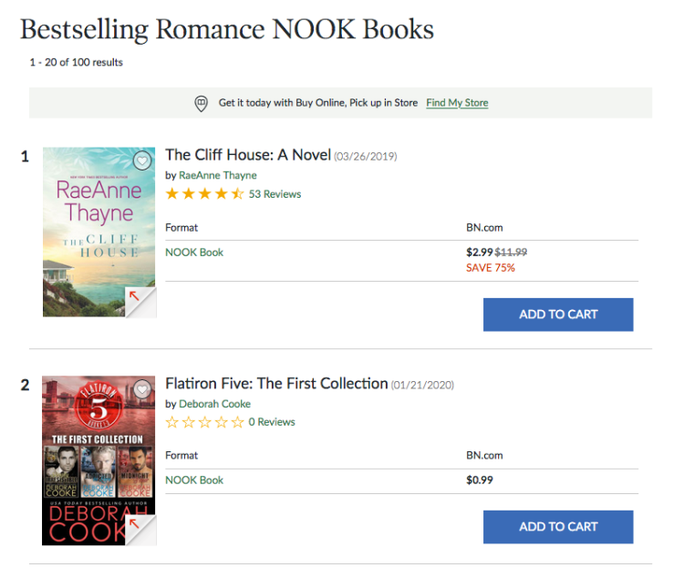 Flatiron Five, the First Collection, a digital bundle of three contemporary romances by Deborah Cooke at #7 overall paid in the Nook store on January 22, 2020
