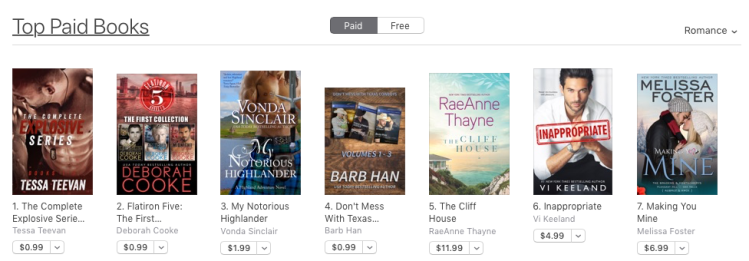Flatiron Five, the First Collection, a digital bundle of three contemporary romances by Deborah Cooke, at #2 in Romance in the Apple store on January 23, 2020