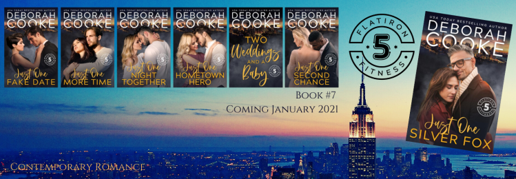 Just One Silver Fox, book seven of the Flatiron Five Fitness series of contemporary romances by Deborah Cooke, coming January 2021