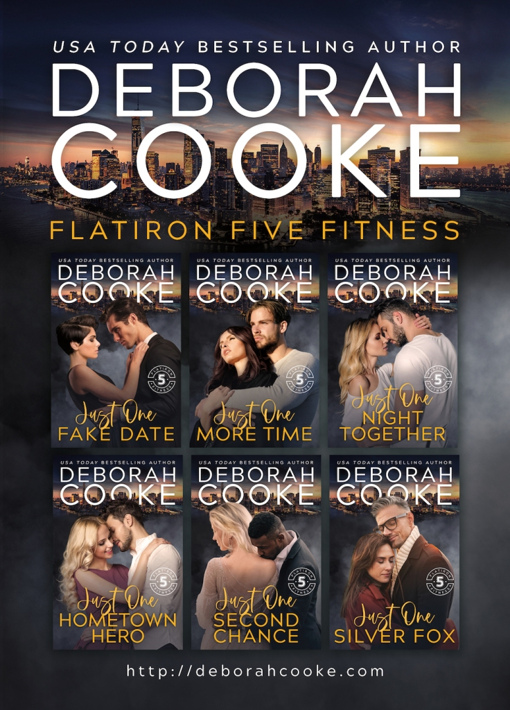 postcard design for The Flatiron Five Fitness series of contemporary romances by Deborah Cooke