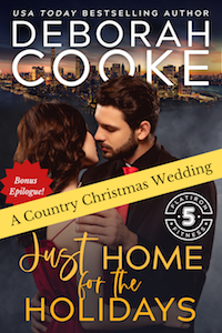A Country Christmas Wedding, the bonus epilogue to Just Home for the Holidays, book seven of the Flatiron Five Fitness series of contemporary romances by Deborah Cooke