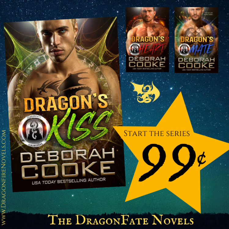 Dragon's Kiss, book one of the DragonFate series of paranormal romances by Deborah Cooke, is 99 cents