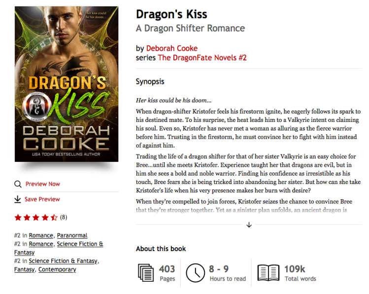 Dragon's Kiss, book two of the DragonFate Novels paranormal romances by Deborah Cooke at #2 in paranormal romance, #2 in SFF romance and #2 in SFF at KOBO on January 28, 2021